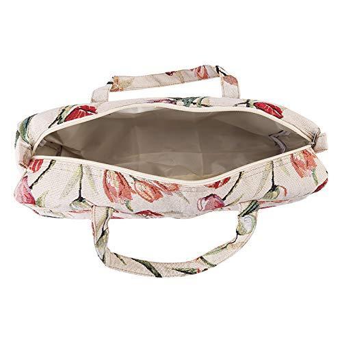 Make Up Bag, Beautiful Flowers Patterns Soft Feeling Handmake Bag for Working Handbag, for Travel(Rose Jacquard)