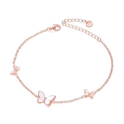 Sterling Silver Created Pearl Butterfly Jewelry[ Necklace & Rings & Anklets & Bracelet ] for Women Birthday Gift