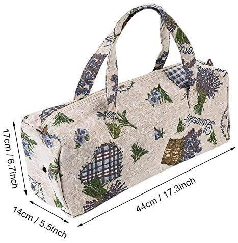 Make Up Bag, Handmake Bag Breathable Hole Handbag, for Working for Travel(Purple Flower, 12)