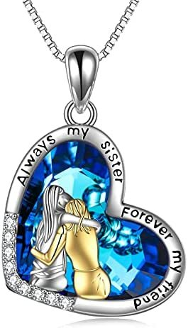 Sister Gifts from Sister Sister Birthday Gifts from Sister Sterling Silver Crystal Sister Necklaces Always My Sister Forever My Friend Pendant Necklace Fashion Jewelry Gifts for Women Girls Friend Sister Female Friendship Lasts Forever Jewelry Birthday