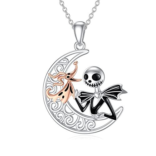Sally/Zero Necklace Sterling Silver Nightmare Before Christmas Necklace for Women Wife Girlfriend Girls Halloween Christmas Gifts
