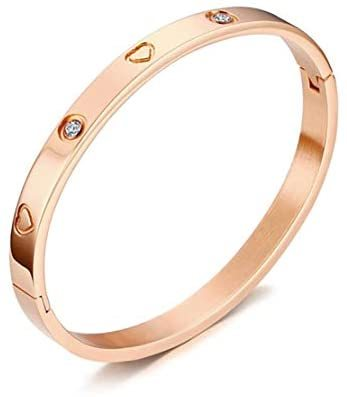 Gold/Rose/White Gold Plated Love Friendship Bracelet Personality Stackable Stainless Steel Bangle with Cubic Zirconia Crystal Bangle Bracelets Present Gift for Women Teen Girls