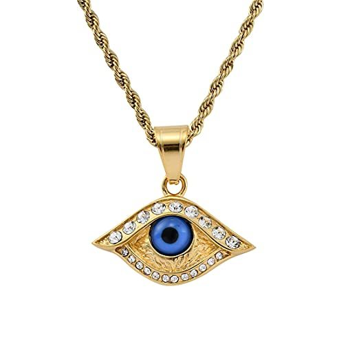 Pendant Necklace Gold Plated Chain Cubic Zirconia Blue Eyes Lucky Amulet Pendant Necklace for Women Men