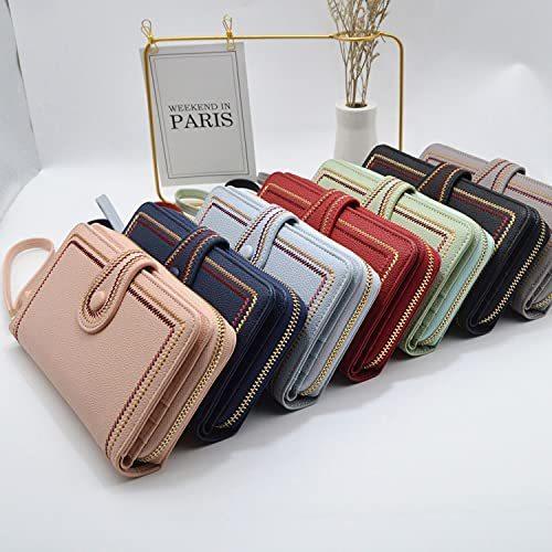2021 Fashion Women Long Leather Wallet Clutch Zipper Pockets Card Large Capacity RFID Blocking Holder Organizer Bifold Wallets (Green)