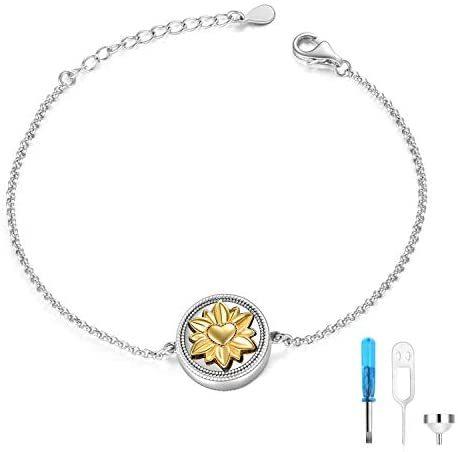 Sterling Silver Rose Flower/Dog Paw Urn Cremation Bracelet Pet Ashes for Women Keepsake Jewelry