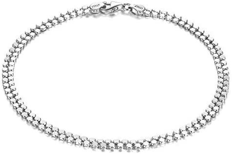 Sterling Silver Chain Anklet for Women Beach Jewelry for Women Teens Birthday Gifts