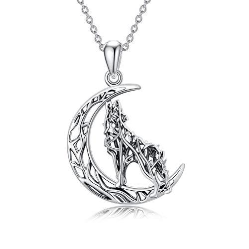 Sterling Silver Moon Howling Wolf Pendant Necklace Jewelry for Wolf Lover Women Men Girls Mom Friend Birthday