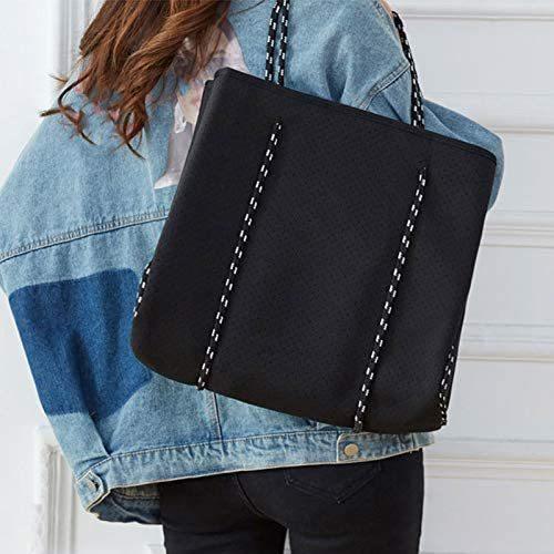 Shopping Bag, Wasn Machine Safe Beach Bag for Wallet A4 Magazine Power Bank Cosmetics(black)