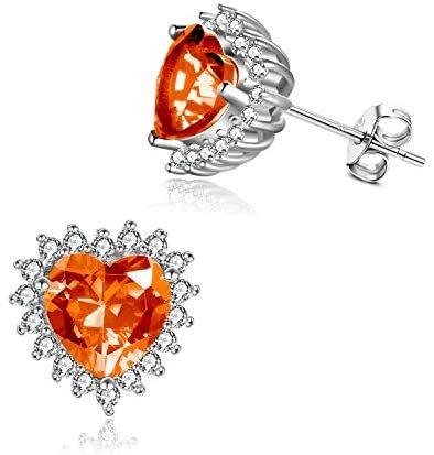 Sterling Silver Birthstone Earrings for Women Girls Heart Shape Stud Earrings Birthstone Earrings Jewelry Birthday Gift