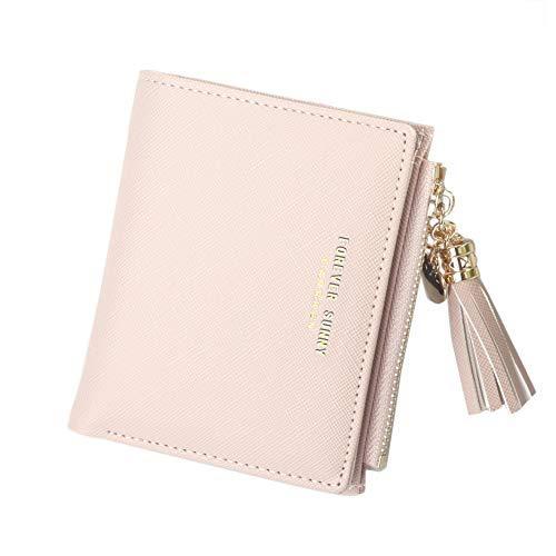 Women's Small Compact Slim Leather Mini Wallet Lady Purse Zipper Pocket Card Organizer Bifold Wallets (Pink)