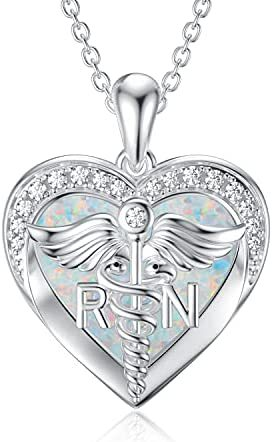 Nurse Gifts for Women [Caduceus and Stethoscope] Locket Necklace That Holds Pictures Photo Doctor Nursing Medicine Themed Sterling Silver Nurse Jewelry Gifts for Nurse Doctor Medical Graduation Student Veterinary