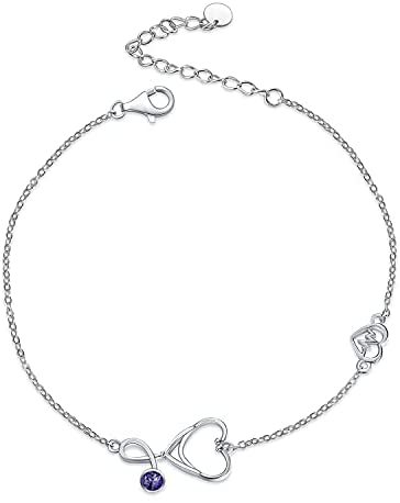 Sterling Silver Stethoscope Bracelets Embellished with CZ Birthstone, Medical Jewelry for Doctor Nurse Medical Student RN Nurse Gifts for Women