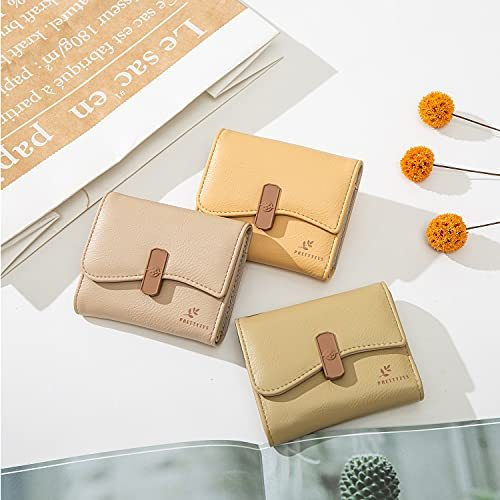 Women Small Compact Rfid Blocking Leather Wallet Clutch Purse Card Holder Organizer Lightweight Zipper Coin Purse Bifold Trifold Wallets (Style 6 - Yellow)