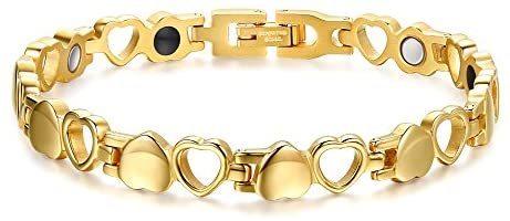 Elegant Womens Loving Heart-Shaped Stainless Steel Magnetic Link Bracelet 8.26inches Love Adjustable Bracelet