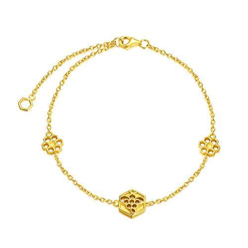 Honeycomb Bracelet Sterling Silver Bee Jewelry for Women Honeybee Inspirational Gifts