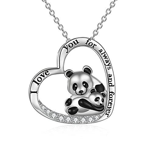 Sterling Silver Origami Panda Necklace for Women Girls Wife Mom I Love You to The Moon and Back Necklace Birthday Gifts