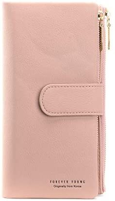 Women Long Leather Wallet Clutch Zipper Double Pockets Card Large Capacity RFID Blocking Holder Organizer Bifold Wallets (Yellow)