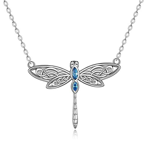 Sterling Silver Dragonfly Necklace for Women Girls Dragonfly Lovers Celtic Jewelry Birthday Christmas Gifts