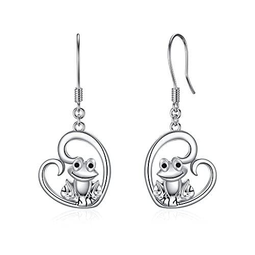 Sterling Silver Frog Earrings Heart Shape Frog Dangle Drop Hook Earrings for Women Girls Birthday Jewelry Gifts (Frog)