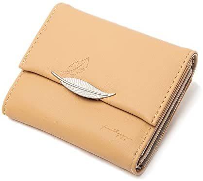 Women Small Compact Rfid Blocking Leather Wallet Clutch Purse Card Holder Organizer Lightweight Zipper Coin Purse Bifold Trifold Wallets (Style 7 - Orange)