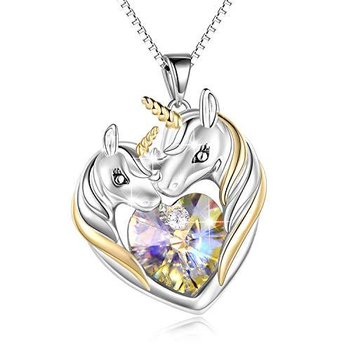 Sterling Silver Unicorn Necklace Heart Pendant Jewelry for Women Girls Birthday Gifts
