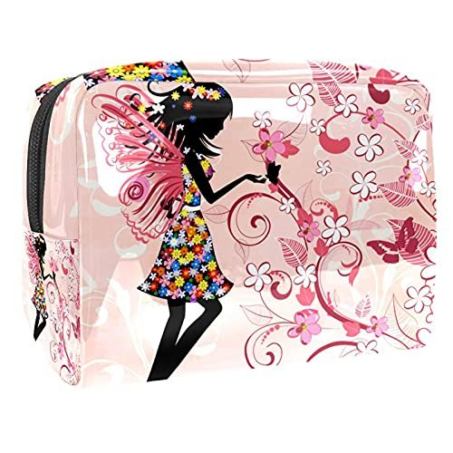 Forest Flower Fairy Butterfly Makeup Bag Cosmetic Organizer Multifuncition Travel Waterproof Toiletry Bagwith Zipper for Women
