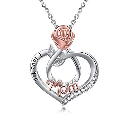Birthday Gifts for Mother/Grandma/Daughter I Love You Mom/Grandma/Daughter Necklace 925 Sterling Silver Love Heart Pendant Necklace for Women