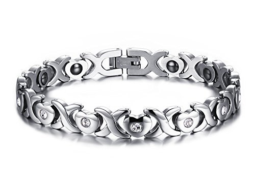 Womens Heart-shaped Stainless Steel Titanium Magnetic Bracelet with Free Links Removal Tool Take Care of Your Lover with Health
