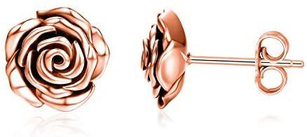 Sterling Silver Rose Flower Stud Earrings for Women Teens Girls Promise Jewelry Gifts