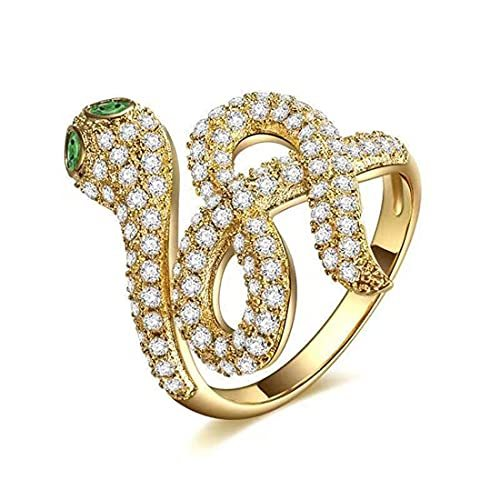 Gold Silver Stainless Steel Snake Ring Animal Vintage Ring Stacking Statement Rings with Finest Cubic Zirconia for Women Teen Girls Adjustable Open Rings