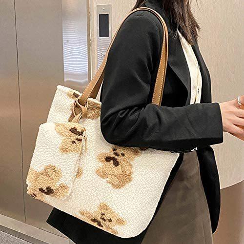 Totes Bag + Small Handbag Bear Fluffy Plush Faux Fur Winter Soft Warm Messenger Fuzzy Handbag Shoulder Work Bag