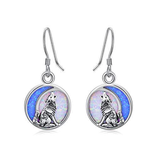 Cute Animal Earrings Wolf/Sea Turtle/Dragonfly/Dog Cat Pet Paw Print Dangle Drop Hook Earrings Sterling Silver Jewelry Birthday Christmas Gift