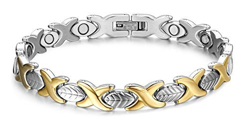 Elegant Womens Leaf-Shaped Stainless-Steel Magnetic Bracelet with Free Links Removal Tool 8.3inches