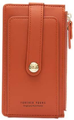 Women's Small Compact Slim PU Leather Front Pocket Wallet Lady Purse Zipper Pocket Card Organizer Bifold Wallets (Blue)
