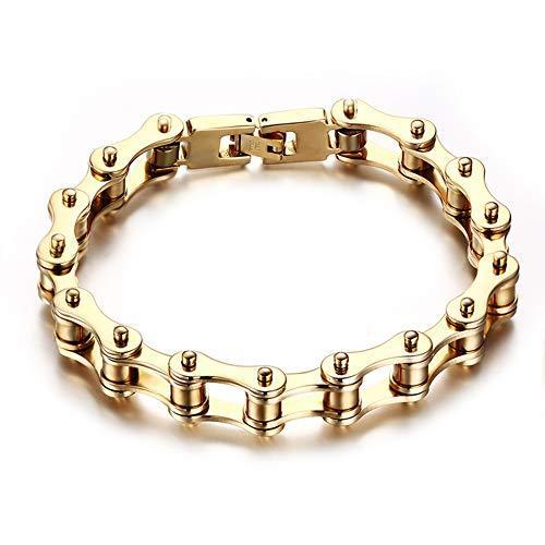 Mens Silver Gold Sturd Bikers Bracelet Titanium Steel Motorcycle Bike Chain Bracelets 9.25Inch