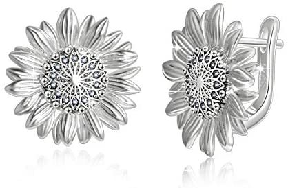 Daisy/Rose/Lotus/Tree of Life] Sterling Silver Gold/Silver Plated Hoop Earrings Jewelry for Women Birthday Gifts