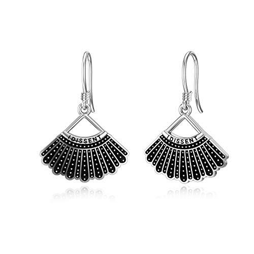 Dissent Collar Earrings Sterling Silver Dangle Drop Hook Earrings Jewelry Gifts for Fans Women, Gold Plated
