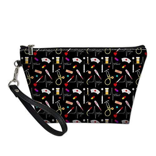 Snilety Floral Makeup Bag for Women Daisy Printed Black Large Cosmetic Bags Teens Travel Water Resistant Bag Multifuncition Pencil Holder