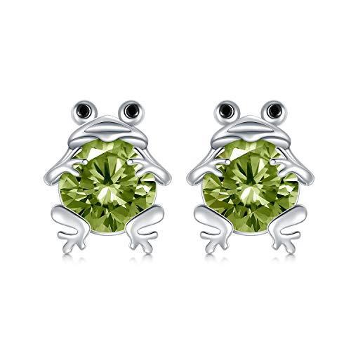 S925 Sterling Silver Frog Stud Earrings for Women Jewelry