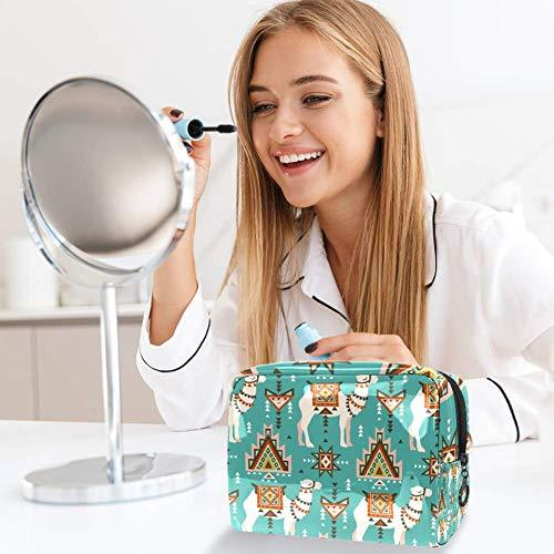 Blue Pattern Camels And Ethnic Motifs Desert Boho Pink Animal PVC Makeup Bag Cosmetic Organizer Multifuncition Travel Makeup Bags Waterproof Toiletry Bagwith Zipper for Women
