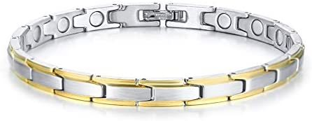 Elegant Womens Stainless Steel Magnetic Bracelet Pain Relief for Arthritis and Carpal Tunnel 8.3inches