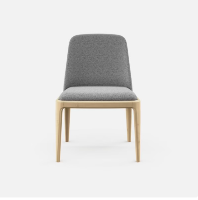 Grey dining chair, wooden frame