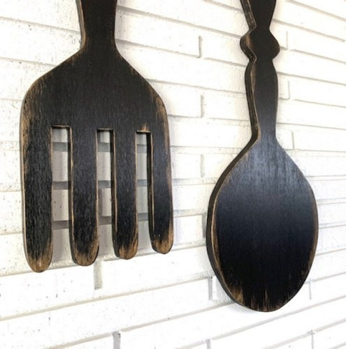 large wood fork and spoon