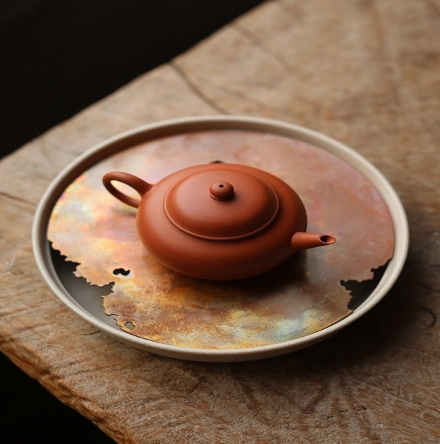 Red copper hand-forged porcelain for tea tray