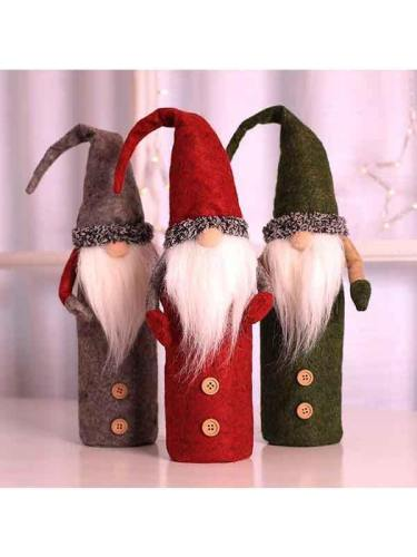 Gnome Christmas Wine Bottle Cover Home Table Decorations