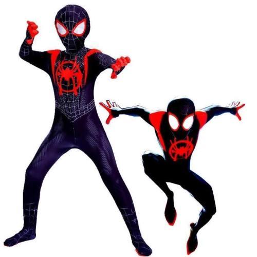 Kids Spider-Man Into The Spider-Verse Miles Morales Cosplay Costume Zentai Spiderman Pattern Bodysuit Suit Jumpsuits
