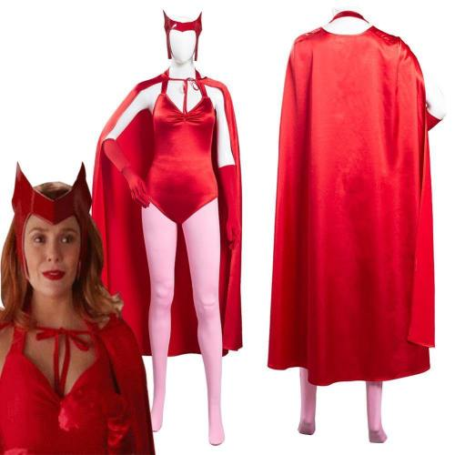Wanda Vision Scarlet Witch Wanda Maximoff Women Jumpsuit Outfits Halloween Carnival Suit Cosplay Costume