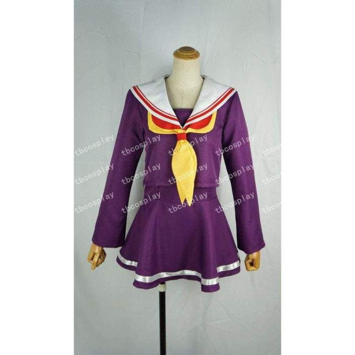 No game no life cosplay sister white purple dress costume