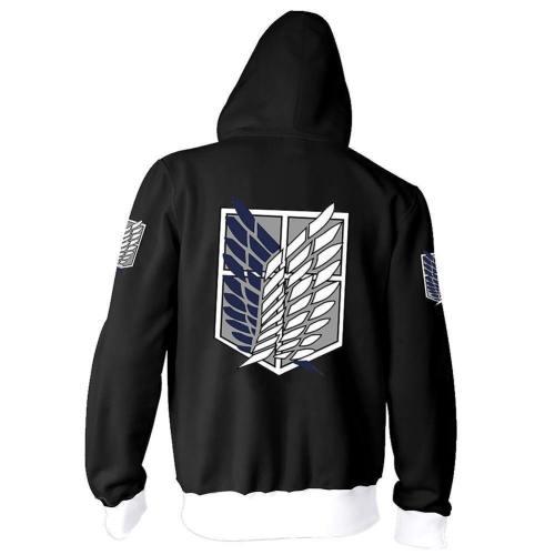 Unisex Anime Attack On Titan : Wings Of Freedom Long Sleeve Full-Zip Hooded Varsity Jacket