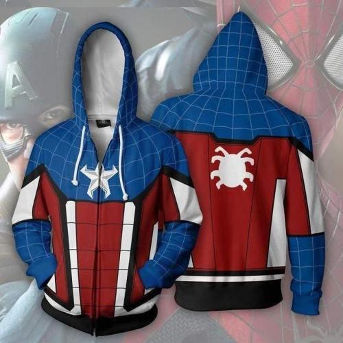 Spider-Man Hoodie - Captain America Zip Up Hoodie